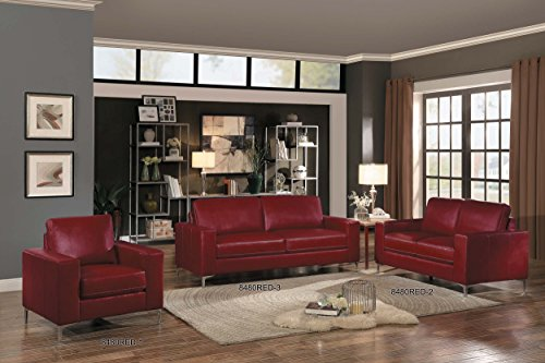 Homelegance Track Arm Loveseat With Metal Accent Leg