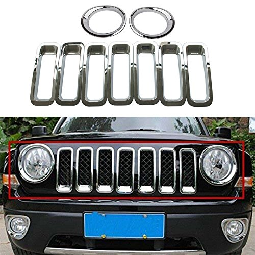 9PCS Silver Chrome Front Grille Grill Mesh Grille Insert Covers Trim Kit & Head Light Lamp for Jeep Patriot 2011-2017