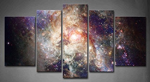 5 Panel Wall Art Star Field In Space And A Nebulae Painting The Picture Print On Canvas Abstract Pictures For Home Decor Decoration Gift piece (Stretched By Wooden Frame,Ready To Hang) - Abstract Space Art