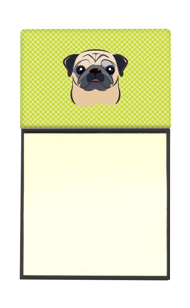 Carolines Treasures Lime Green Fawn Pug Refillable Sticky Note Holder or Postit Note Dispenser 3.25 by 5.5 Multicolor