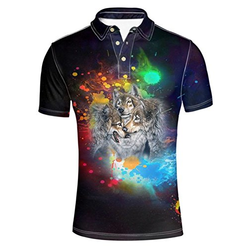 HUGS IDEA Wolf Print Men's Short Sleeve Jersey Polos Shirt Summmer Button Down Tshirts Tee