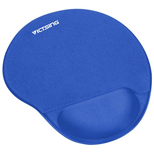 VicTsing Mouse Pad with Gel Wrist Rest, Mousepad with Non-Slip PU Base Mouse Mat for Home, Office & Travel, Blue