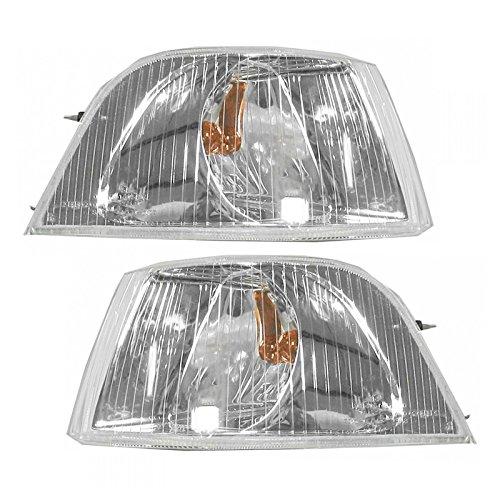 Corner Side Marker Parking Turn Signal Light Chrome Pair Set for 01-04 Volvo S40
