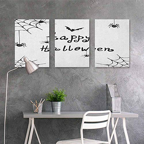 HOMEDD Canvas Print Artwork,Spider Web Happy Halloween Celebration Monochrome Hand Drawn Style Creepy Doodle Artwork,Easy Care Oil Painting 3 Panels,16x31inchx3pcs Black White ()