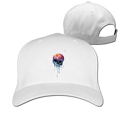 Unisex Baseball Cap Watercolor Skull Dad Hat Peaked Flat Trucker ... 897fda421205