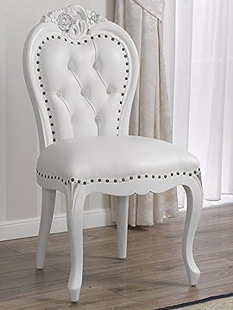 Poltrona sedia stile Barocco Moderno bianco laccato particolari ...