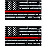 6 Reverse Distressed Thin Red Line Subdued American Flag Sticker Self Adhesive Vinyl Decal FA Graphix Firefighter fagraphix 3686C1FA7661