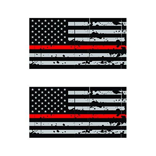 "x12 Subdued Red Tattered Flag Firefighter 2/"" Helmet USA Vinyl Sticker Decal"