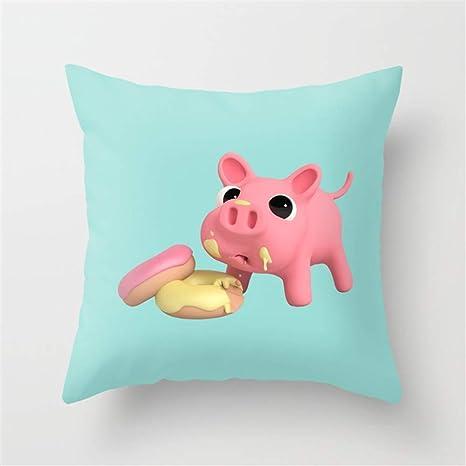 Jacklee Funda de cojín para sofá con Rosa The Pig Eating ...