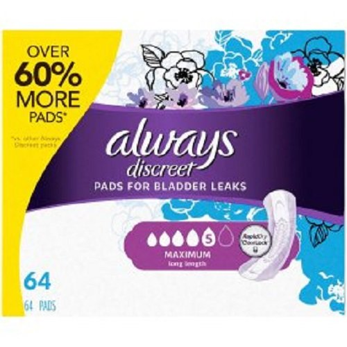 Always Discreet, Incontinence Pads, Maximum, Long Length, 64 Count (4 Pack(64 Count))
