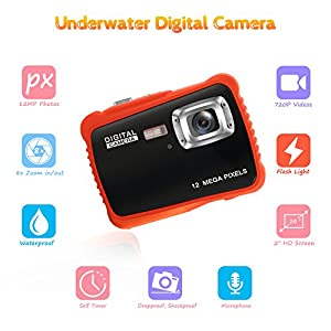 Waterproof Camera for Kids, Crazyfire 12MP HD 720P Kids Digital Camera with 2 inch LCD Display, Underwater Camera with Float Strap, 8GB Memory Card Included by H-Zone Technology Co.,Ltd