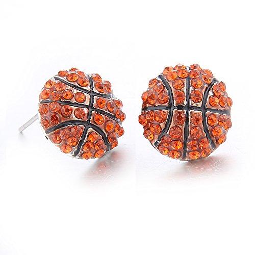 Lureme Fashion Crystal Rhinestone Post Stud Silver Bling Basketball Earrings (er005453-1)]()
