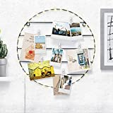 Merkury Innovations Light Up LED Wall Grid with Photo Clips, Grid Panel Decorative Iron Rack Clip Photograph Wall Hanging Picture Wall, Ins Art Display PhotoWall (Circle)