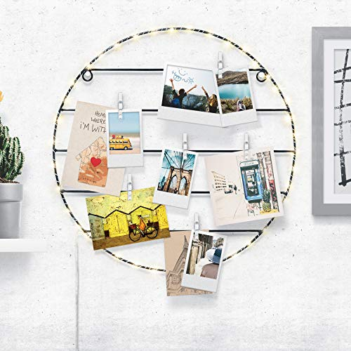 - Merkury Innovations Light Up LED Wall Grid with Photo Clips, Grid Panel Decorative Iron Rack Clip Photograph Wall Hanging Picture Wall, Ins Art Display PhotoWall (Circle)