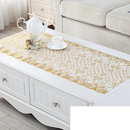 (JFFFFWI Dresser tv Cabinet mat,Gilt Silver Table Cloth,Tea Table mats,Plastic Rural European Tablecloth-E 20x47inch)