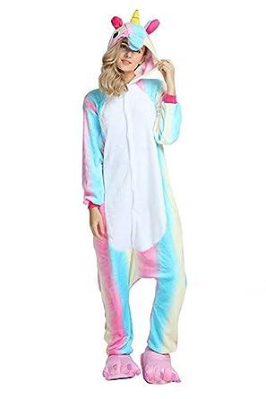 BlingBling Dress New Rainbow Adult Unisex Unicorn Onesie Animal Sleepwear Kigurumi Cosplay Costume Pajamas,Size