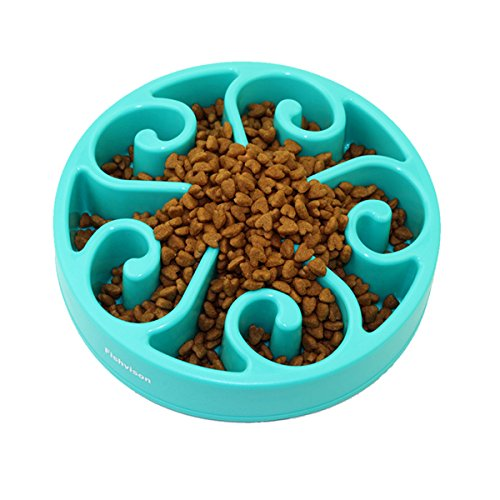 Fun Feeder Slow Feed Dog Bowl-Stop Bloat Non-skid Design for Small & Medium Dogs (blue)
