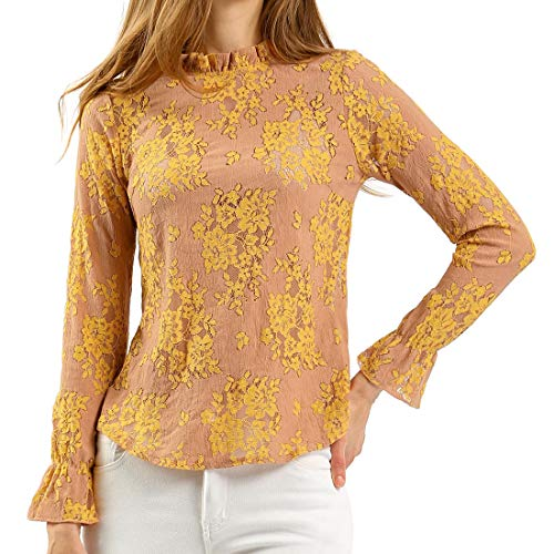 Allegra K Women's Chroect Floral Color Block Blouse S Yellow