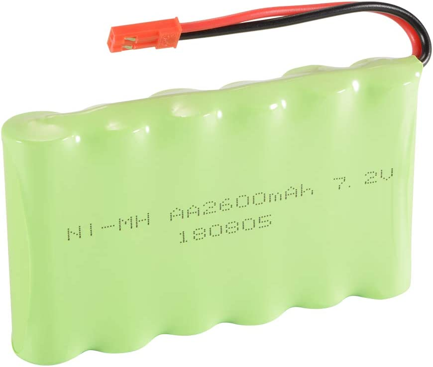 StepWorlf 7.2V 2600mAh Ni-MH Rechargeable Battery JST Plug compatible for RC Car Boat Model Toy BC758