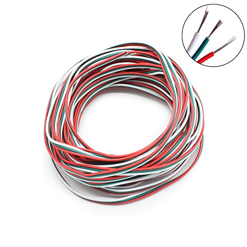 RGBZONE 10M 22AWG 3pin Extension Cable Line Wire for WS2812B WS2811 Dream color LED Strip Lights