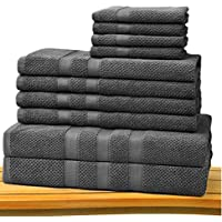 Cotton Craft - Juego de toallas de tela con punto de arroz, 10 piezas, lujosas de 100 % algodón, pesada y absorbente, juego con 2 toallas de baño grandes, 4 toallas de mano y 4 paños de lavado, Carbón, Set of 10 Towels – Charcoal