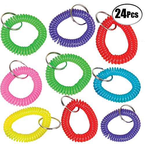 Wrist Coil Key Chain - (Pack of 24) Assorted Colorful Cute Stretchable Lanyard Keychain Rings, Plastic Wrist Key Holder Tag by Bedwina