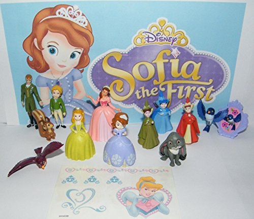 Princess Disney Sofia The First Deluxe Party Favors Goody Bag Fillers Set of 14 with Fun Figures, Tattoo Sheet, ToyRing Featuring Sofia, Amber, The 3 Fairies Etc!]()