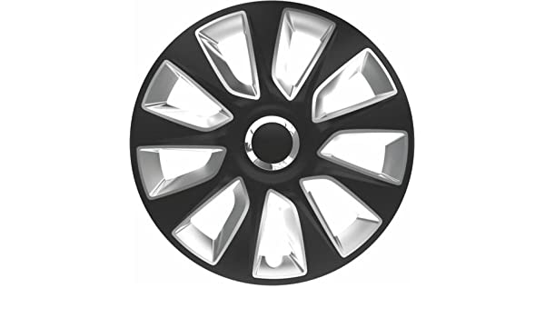 Señor E Saver© 16 pulgadas STRATOS negro/plata tapacubos cubiertas - Juego de 4 - mre16stratblk2333: Amazon.es: Coche y moto