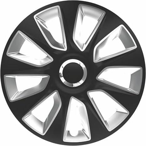 MR E SAVER©® - Juego de 4 tapacubos para llantas de color negro y plateado, 38 cm: Amazon.es: Coche y moto