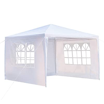 Alapaste Party Wedding Outdoor Patio Tent Canopy Gazebo Outdoor with Spiral Tubes, White(300x300cm Three Sides Two Doors) : Garden & Outdoor