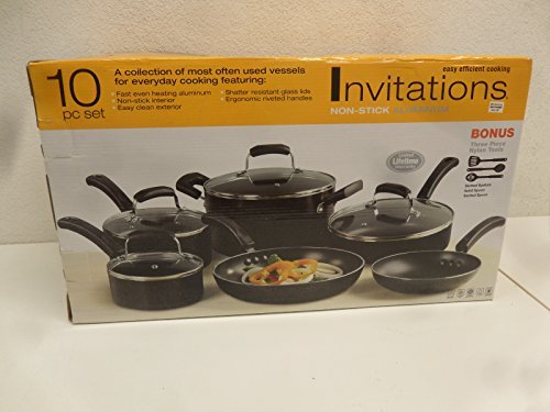 Invitations Everyday Nonstick 10-Piece Cookware Set, Black by Invitations