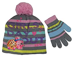 Shopkins Girls Grey and pink Beanie Hat and Gloves Set [4013]