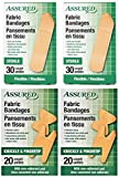 Assured Assorted Flexible Fabric Bandages, Knuckle, Fingertip, Standard, 4-Box, 100-ct