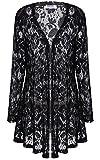 Meaneor Women's Lace Crochet Sheer Long Sleeve Waterfall Open Front Cardigan Style-4 Black XL