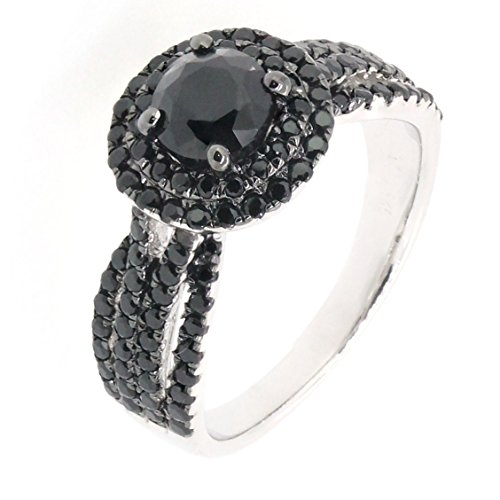 BL Jewelry Sterling Silver Round Black Spinel Double Layer Accent Split Shank Halo Ring (2 CT.T.W)