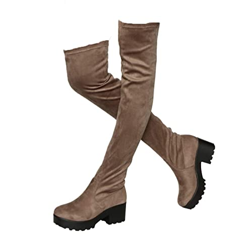 cb7edf08c3b Womens Thigh High Platform Boots Sexy Chunky Block Heel Stretch Pull on  Over The Knee Tall Boots