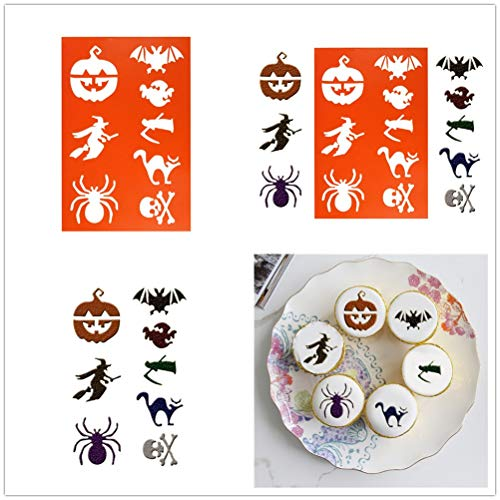 Koolsants Halloween DIY Stencils Spray Mold Fondant Sweet Cake Cupcake Decorating Print -