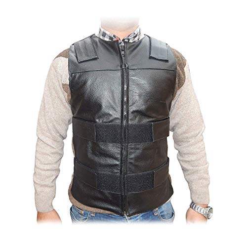 4Fit Men's Bullet Proof Style Motorcycle Biker Leather Vest-Black Small to 6XL ()
