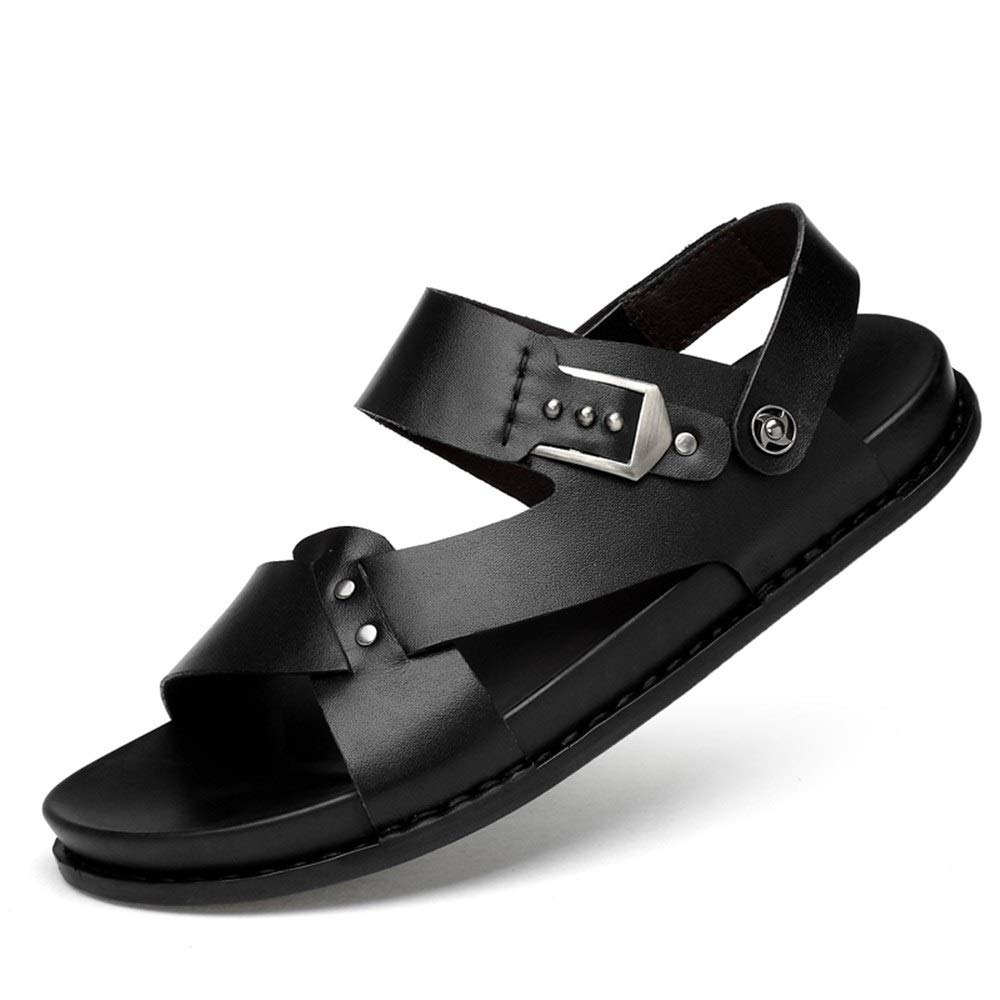 Hilotu Sports Sandals for Men Fashion Casual Slipper Slip On Style OX Leather Monk Strap Dual Purpose Pure Colors Shoes (Color : Black, Size : 9.5 M US) by Hilotu Mens Sandals