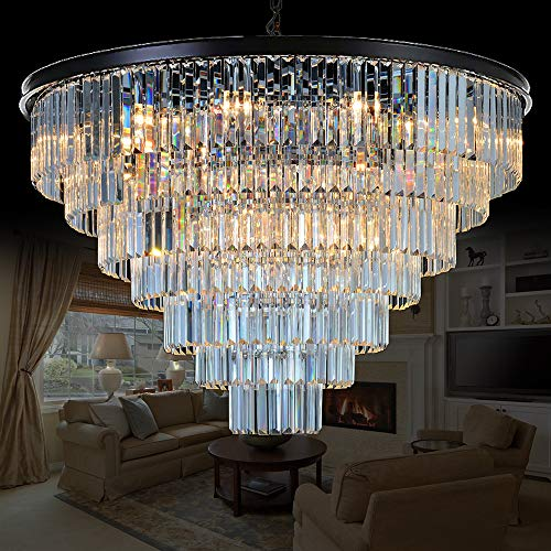 Twenty Four Light Chandelier - Meelighting 24 Lights Empress Crystal Chandelier Lighting Modern Contemporary Chandeliers Pendant Ceiling Lamp Lights Fixture 7-Tier for Dining Room Living Room Hotel Showroom W39.4