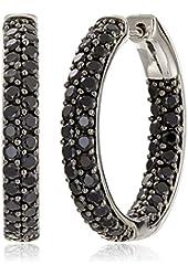 """Sterling Silver Black Spinel Round Hoop Earrings, 1"""""""