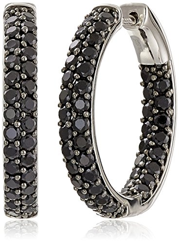 Sterling Silver Black Spinel Round Hoop Earrings, 1