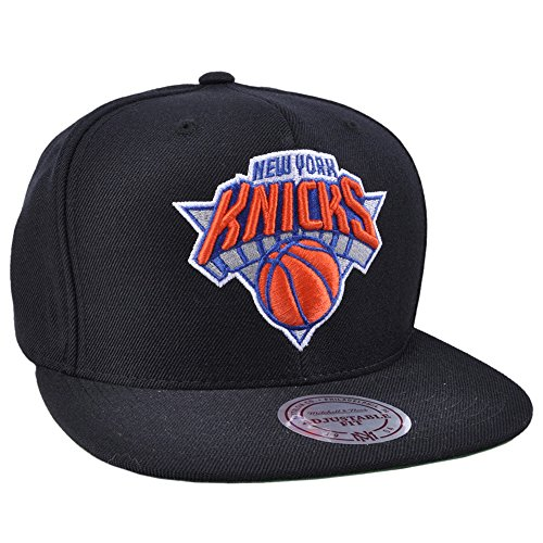 New York Knicks NBA Mitchell & Ness Team Logo Solid Wool Adjustable Snapback Hat (Black)