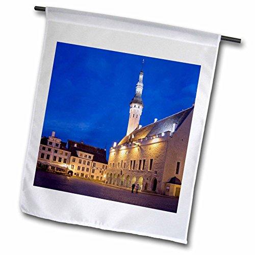 3dRose Danita Delimont - Estonia - Estonia, Tallinn. Church and town plaza. - 12 x 18 inch Garden Flag - Plaza Town