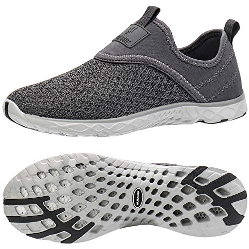 - ALEADER Men's Slip-on Athletic Water Shoes All Grey 13 D(M) US