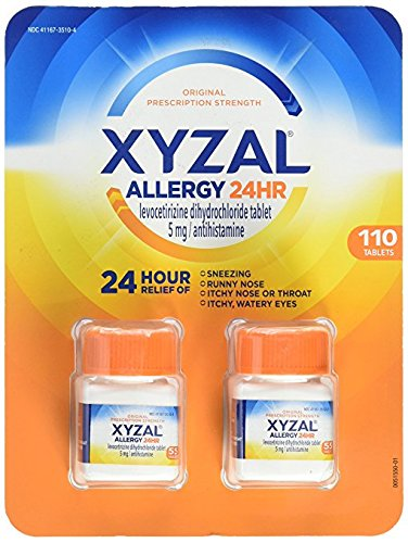 XYZAL Allergy 24 hour, 6 bottle (330 Tablets total) Sm^tw