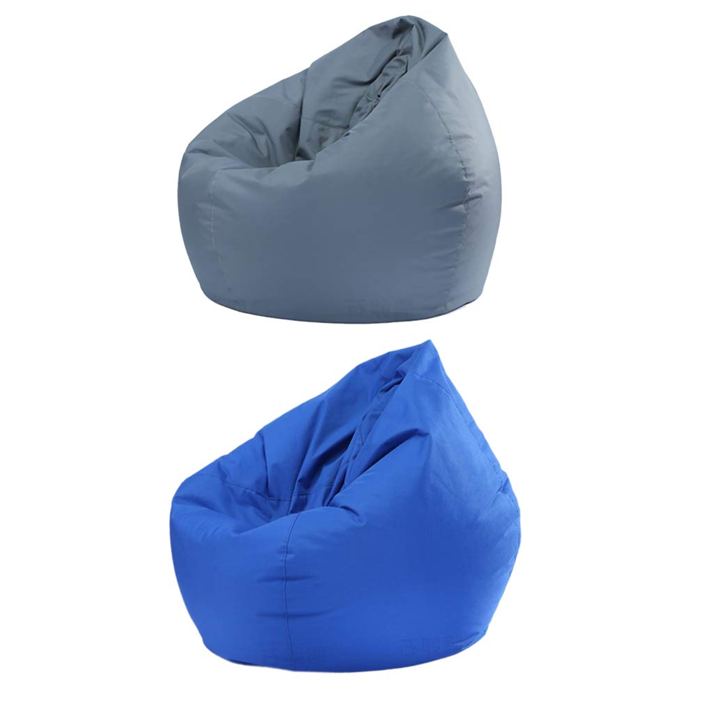 Homyl 2PCS Extra Large Classic Bean Bag Chair Cover, Indoor Outdoor Garden Beanbag Seat, Stuffed Animal Toy Organizer, 30x30x35 Inch - Grey and Blue by Homyl