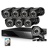 Zmodo Full 1080p HD 8 Channel 8 Camera sPoE Home Security System Weatherproof with 2TB Hard Drive