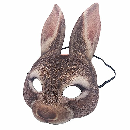 Mardi Gras Party Masquerade Mask,Simulation Animal Rabbit Half face mask Compound Party Makeup Dance mask Prom Masks -