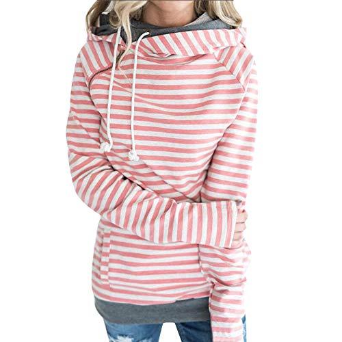 Dainzuy Ladies Sexy Casual Sweater,Long Sleeve Striped Panel Hoodie Tops ()